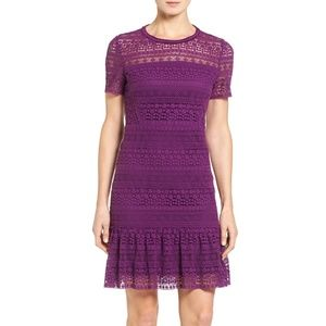 Elie Tahari Jacey Crochet Lace A-Line Dress Garnet
